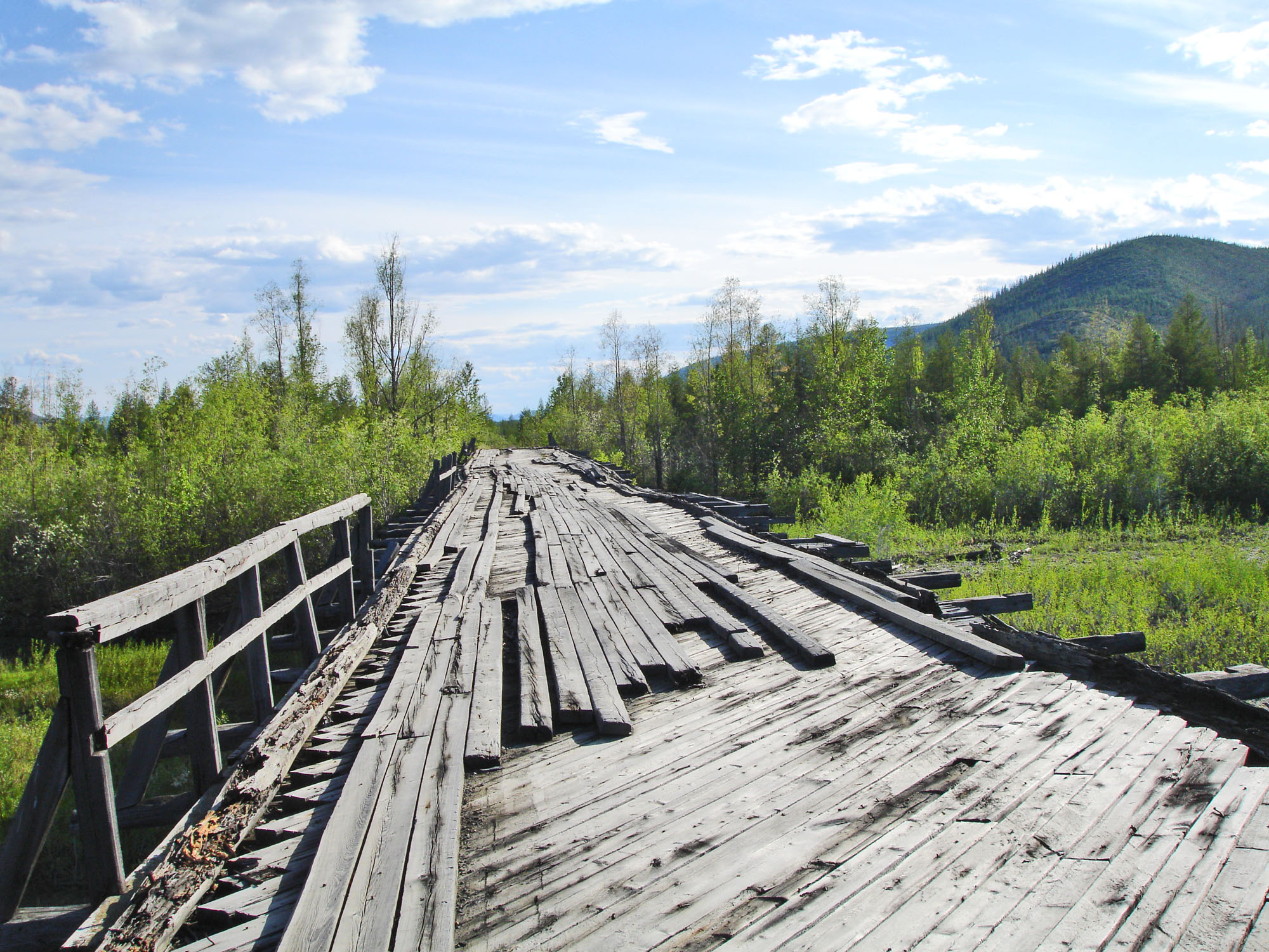 Bridge built by prisoners  on the road of bones and abandoned